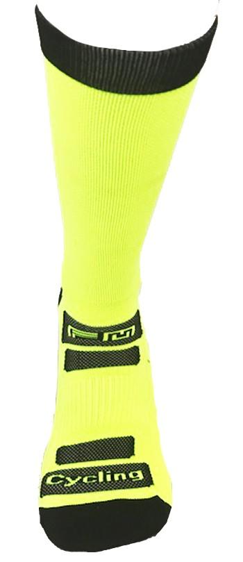 Par de meia de ciclismo cano longo -  Amarelo Neon com Preto