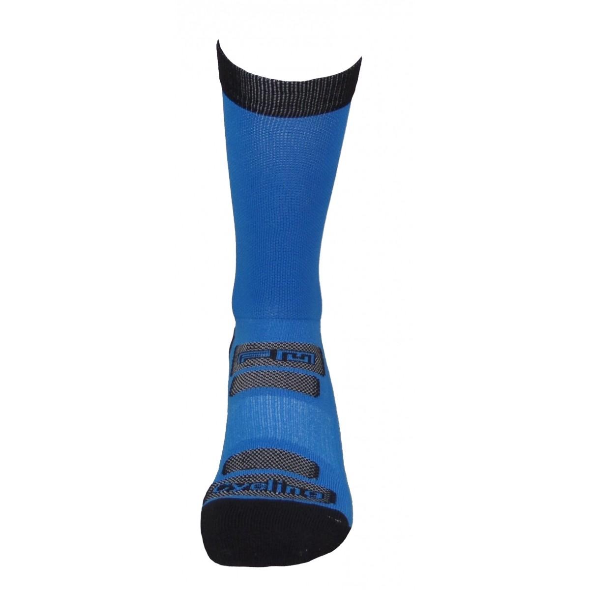 Par de meia de ciclismo cano longo -  Azul Turquesa com Preto