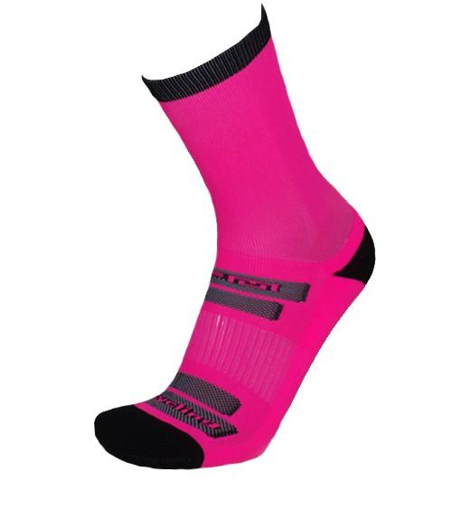 Par de meia de ciclismo cano longo - Rosa Neon com Preto