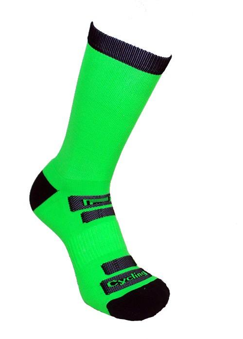 Par de meia de ciclismo cano longo - Verde neon com Preto