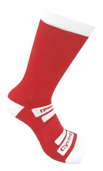 Par de meia de ciclismo cano longo - Vermelho com Branco