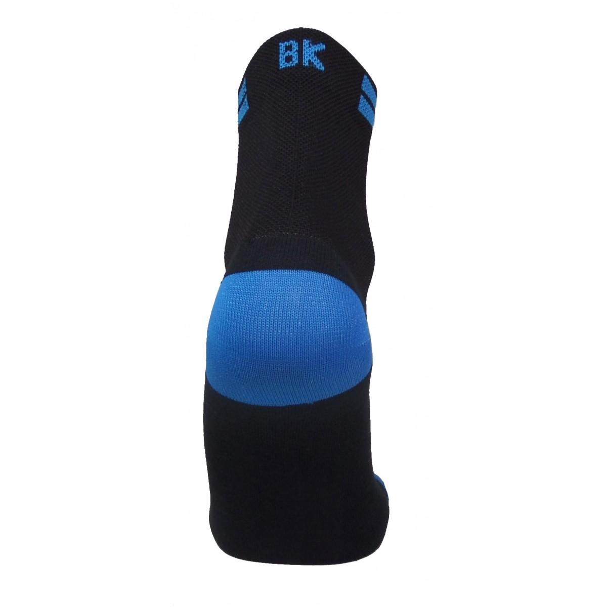 Par de meia de ciclismo cano médio BK -  Preto com Azul Turquesa