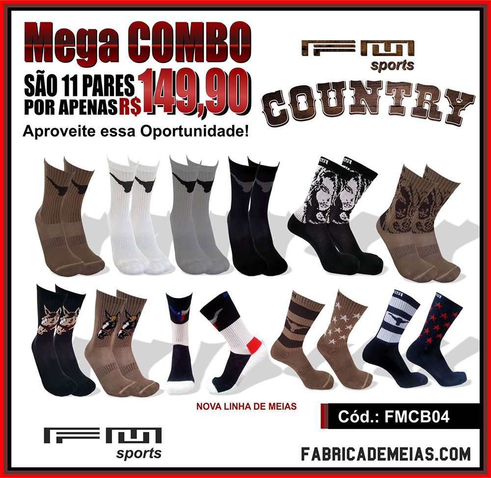 SUPER COMBO 11 PARES MEIAS COUNTRY