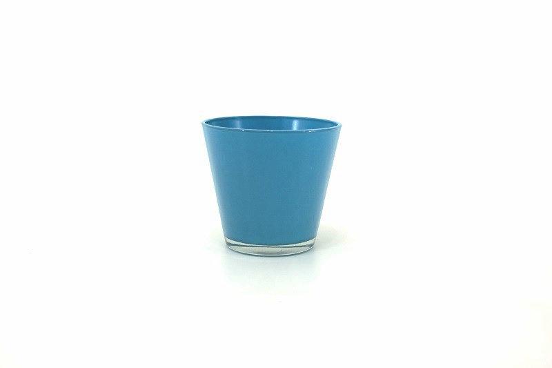 Cachepots vidro - produto importado China - cor Azul medida (AxLxC) 11x12x12