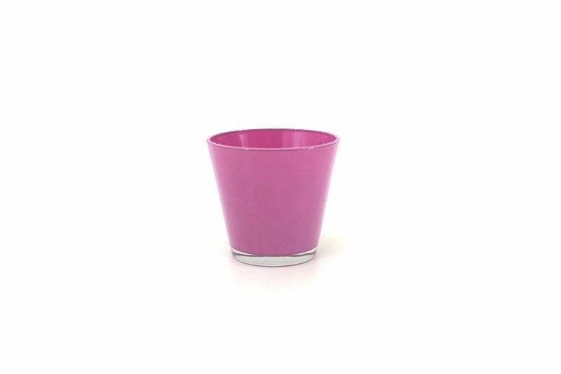 Cachepots vidro - produto importado China - cor Rosa medida (AxLxC) 11x12x12
