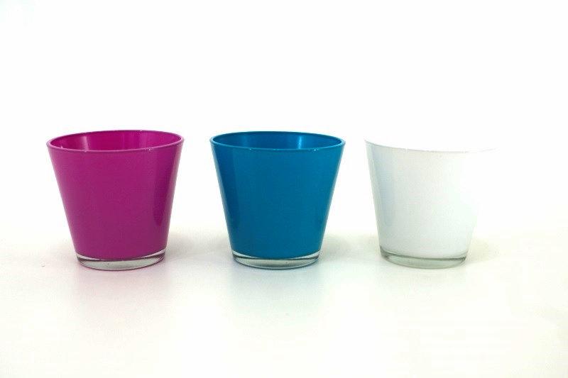 Kit Cachepots vidro - produto importado China - cor Rosa / Azul / Branco medida (AxLxC) 11x12x12