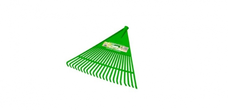 Vassoura ancinho plastica sem cabo na cor verde