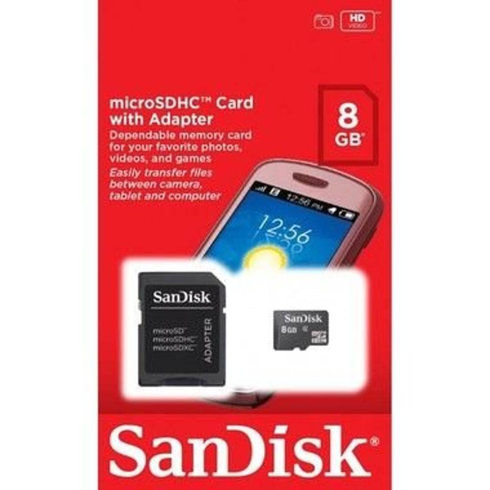 Cartão De Memória Sandisk Micro Sd 8 Gb + Adaptador  - Mega Computadores
