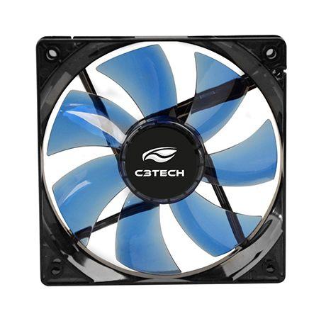 Cooler Fan Para Gabinete 12x12 C3Tech F7-L100 BL Led Azul  - Mega Computadores