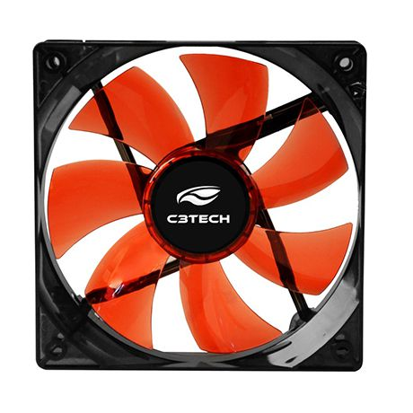 Cooler Fan Para Gabinete 12x12 C3Tech F7-L100 RD Led Vermelho  - Mega Computadores