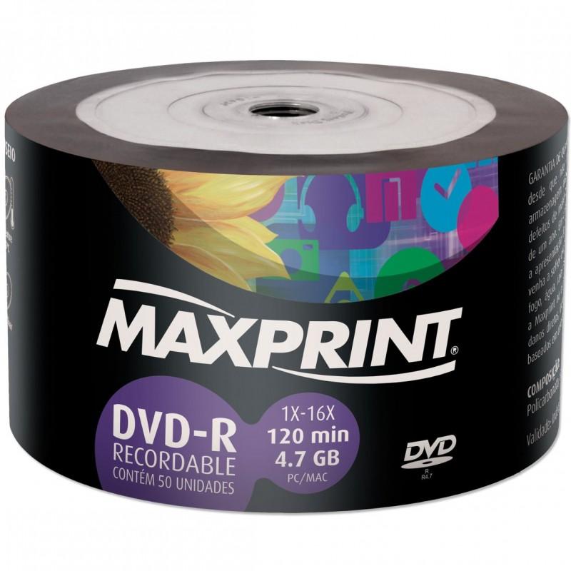 DVD-R Gravável Maxprint 504719 Pino Com 50 Unidades  - Mega Computadores