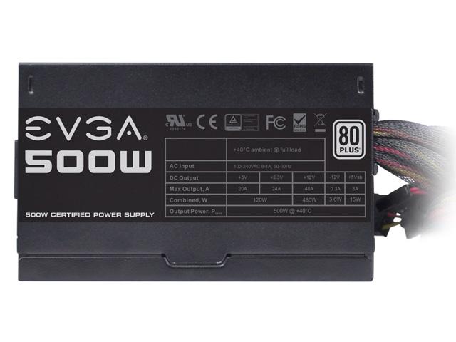 Fonte 500W EVGA 100-W1-0500-KR - 80Plus, PFC Ativo, Bivolt Automático  - Mega Computadores