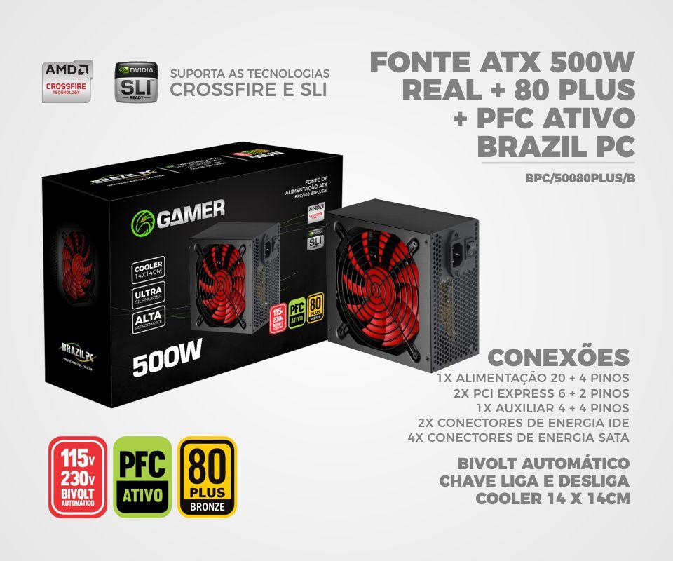 Fonte Brazil PC 500W 80 Plus Bronze BPC/500 - 38040  - Mega Computadores