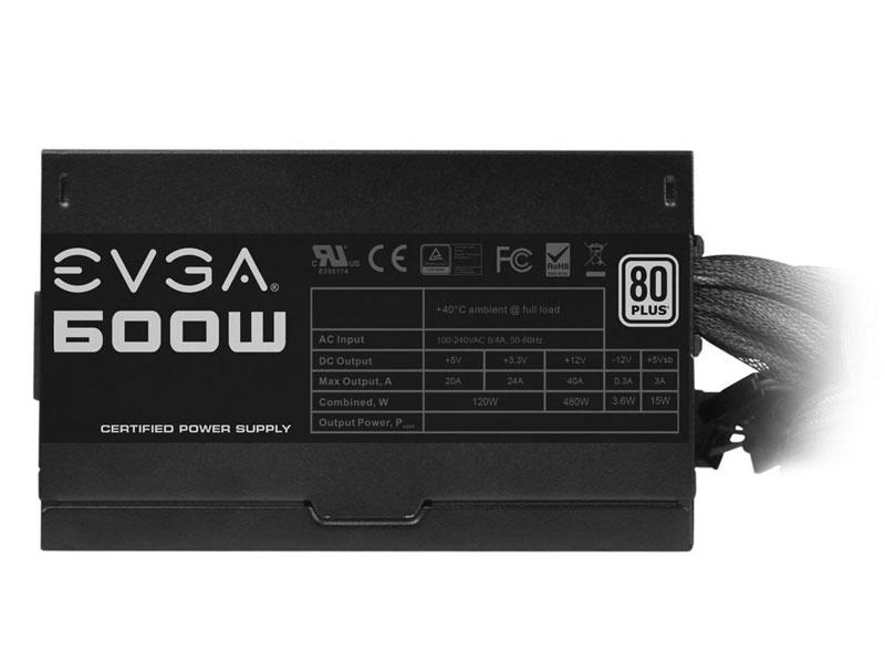 Fonte EVGA 600W 80Plus / PFC Ativo 100-W1-0600-K1  - Mega Computadores