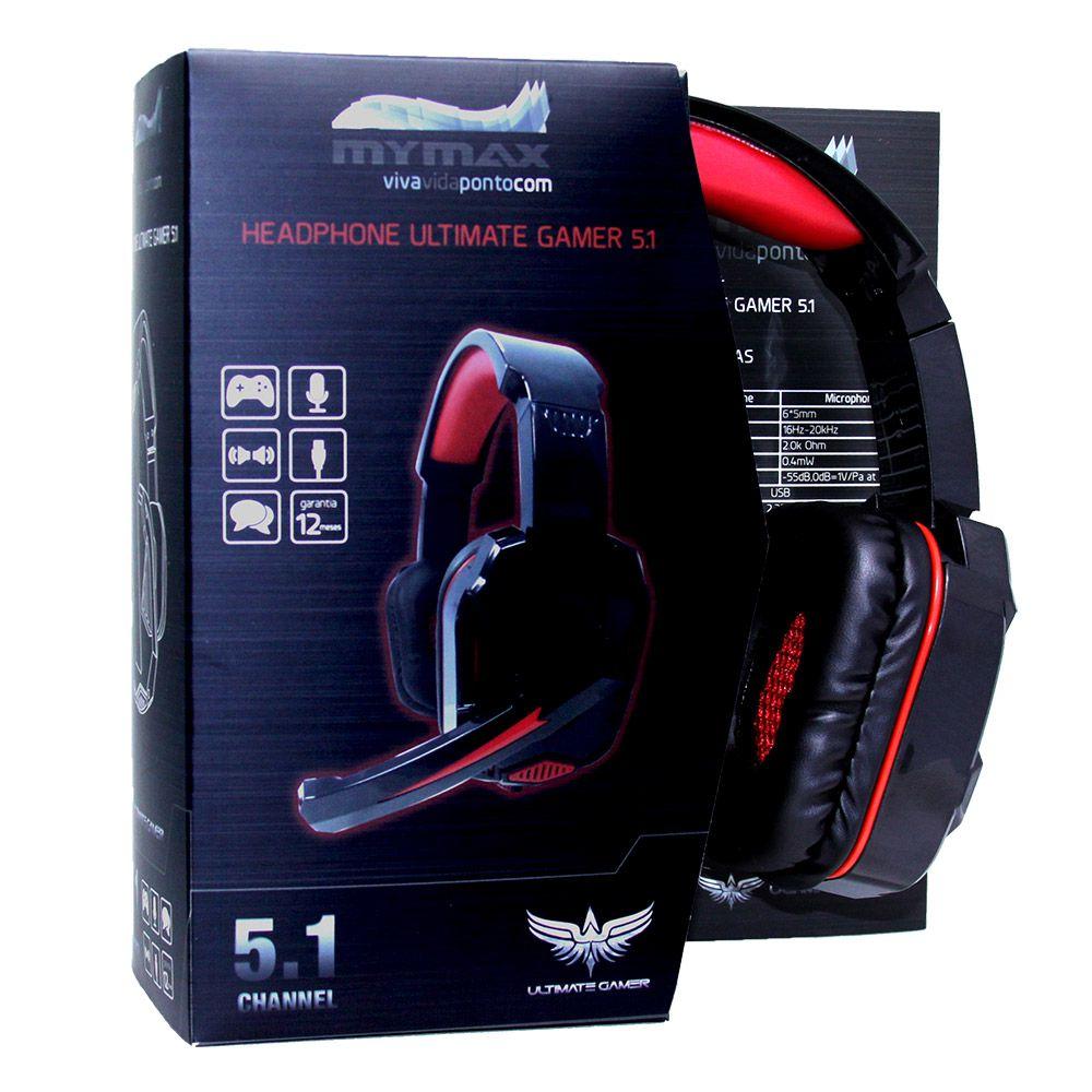 HEADSET MYMAX ULTIMATE GAMER 5.1 PRETO/VERMELHO, MHP-SP-X9/BKRD  - Mega Computadores