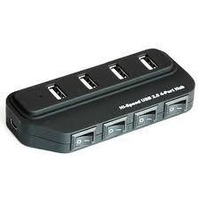 HUB 4 Portas USB 2.0 Com Botões On/OFF  - Mega Computadores