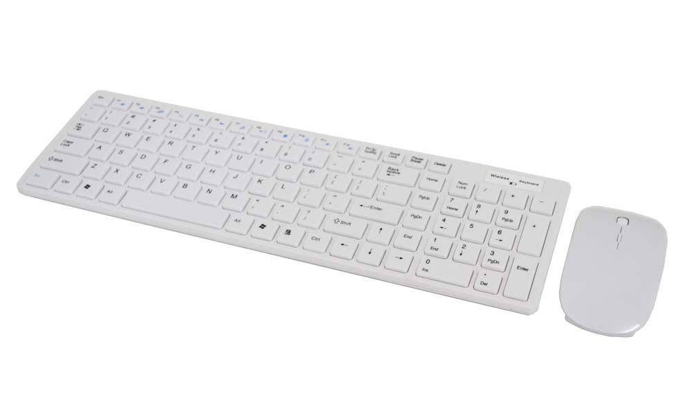 Kit Teclado/Mouse Wireless 2.4GHz Sem Fio Branco  - Mega Computadores