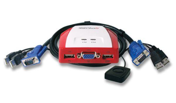 KVM ENCORE ENKVM-USBB 2 PORTAS USB COM CABOS FIXOS  - Mega Computadores