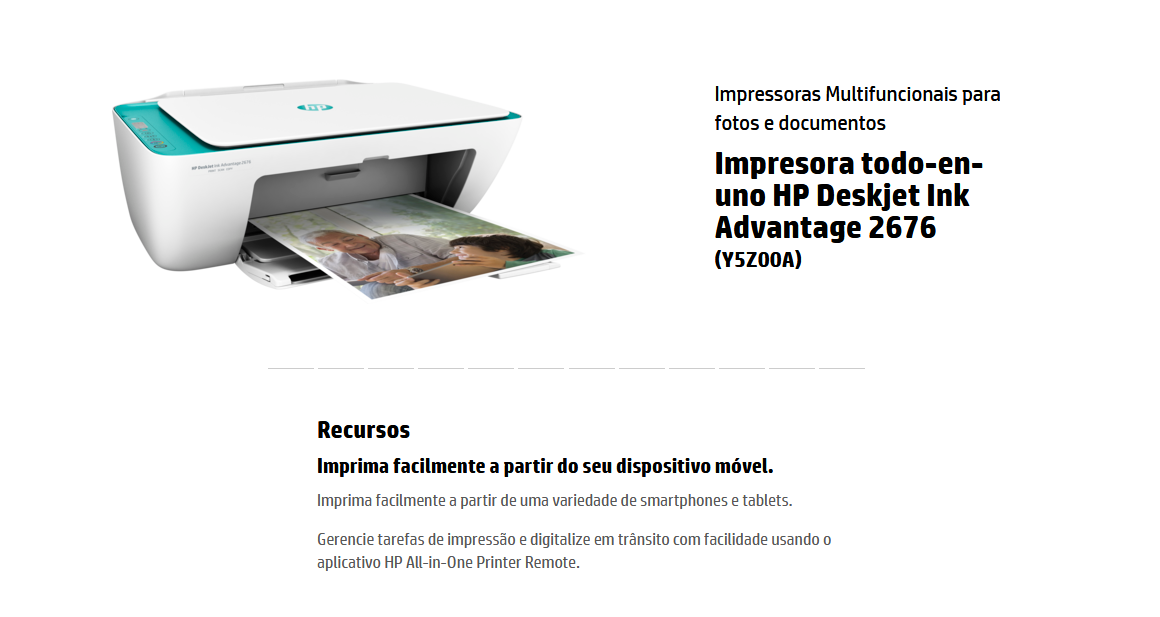 Multifuncional HP Deskjet Ink Advantage 2676 - Jato de Tinta LCD Wi-Fi USB 2.0  - Mega Computadores