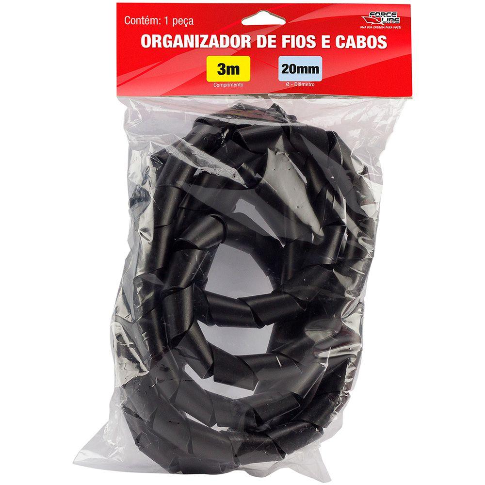 Organizador De Cabos 3m / 12mm Preto Force Line  - Mega Computadores