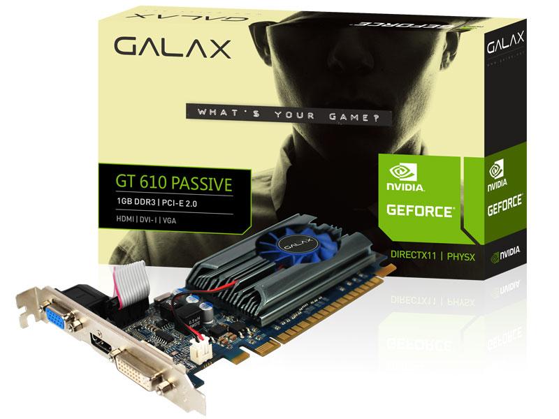 Placa de vídeo NVidia Geforce GT 610 1GB 64-Bit GDDR3 Galax - VGA|DVI|HDMI  - Mega Computadores