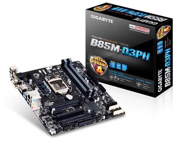 Placa Mãe Gigabyte LGA1150 B85M-D3PH MATX DDR3 1600MHz 32GB BOX  - Mega Computadores