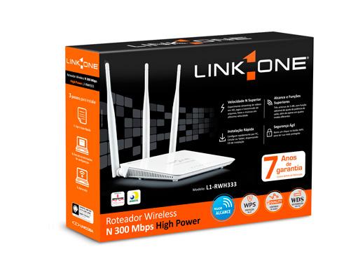 Roteador de Alta Potência Link One L1-RWH333 300Mbps/3 Antenas externas de 5dBi  - Mega Computadores