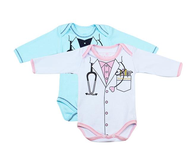 Body Manga Longa Médico Bebê Brincalhão