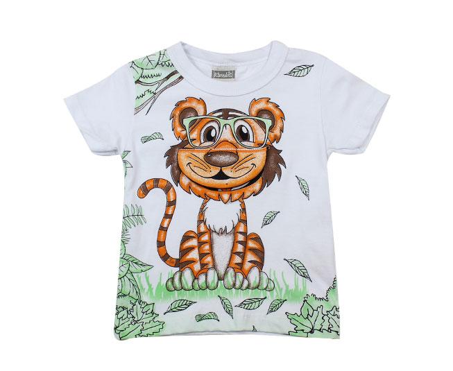 camiseta masculina branca tigre
