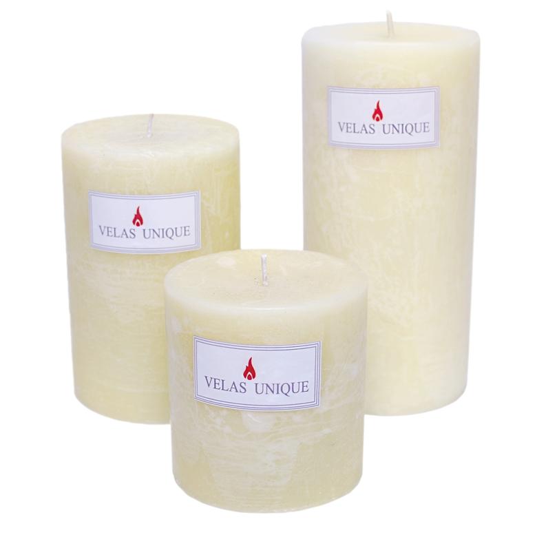 trio de velas cilíndricas 9,5 marfim