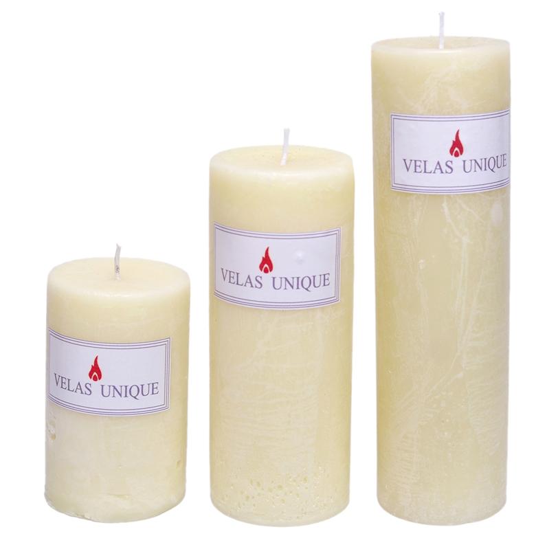 trio de velas cilíndricas 6 marfim