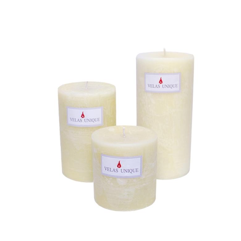 trio de velas cilíndricas 7,5cm marfim