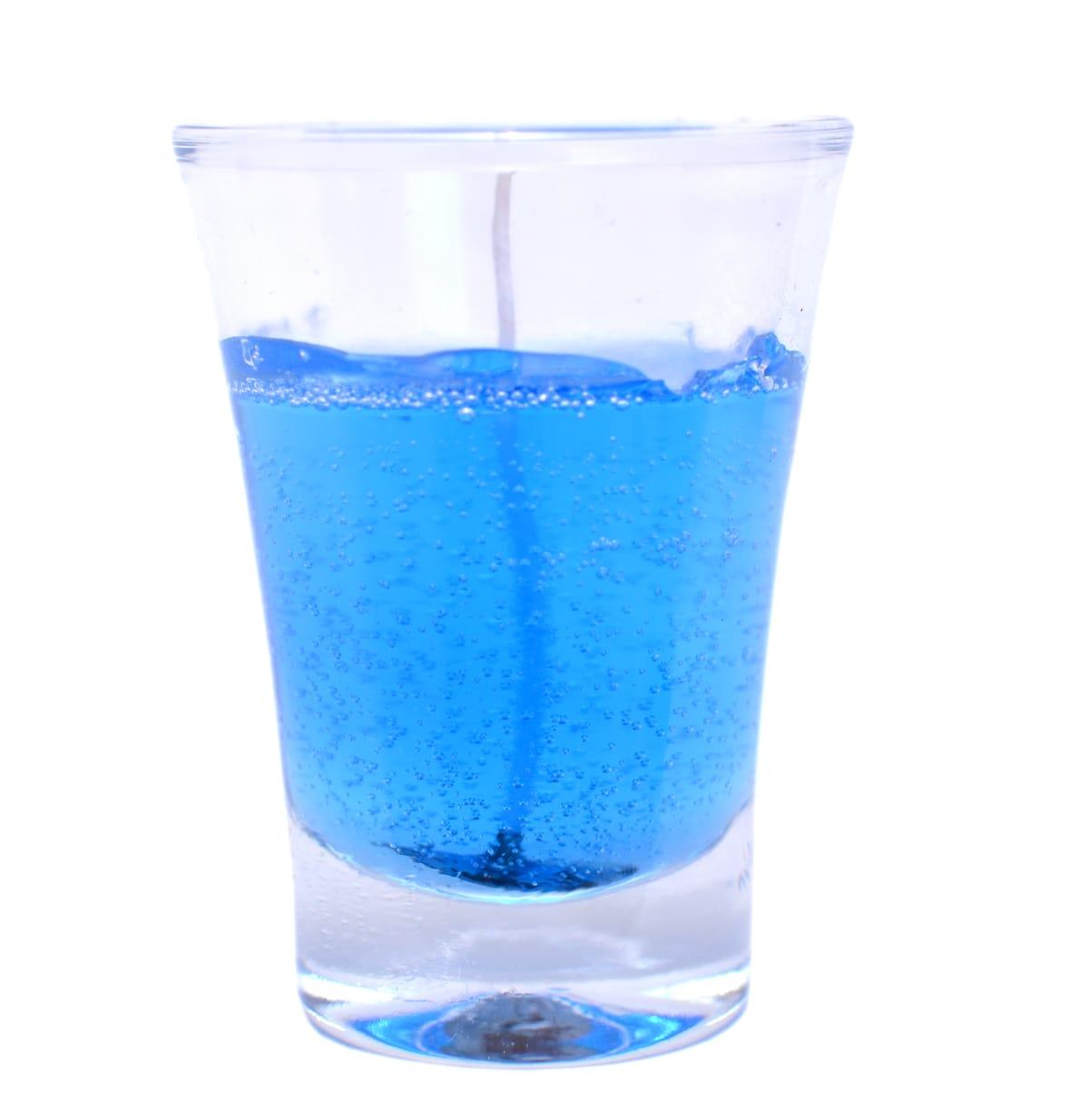 Vela copo em gel azul