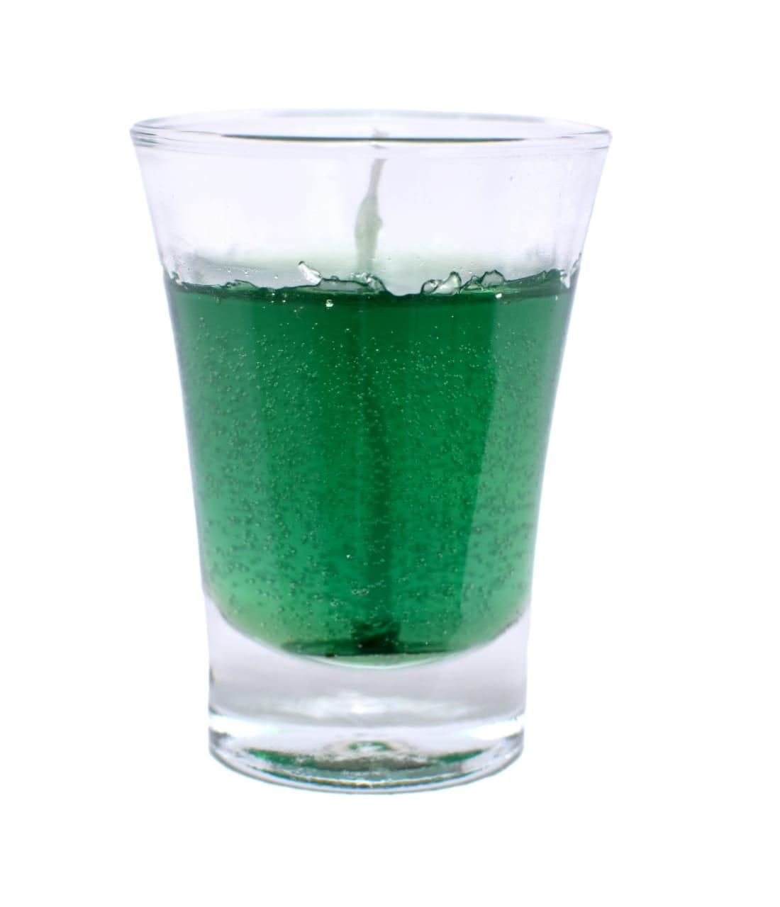 Vela copo em gel verde