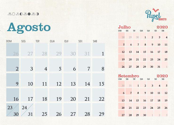 Calendário 2020 . Personalizável