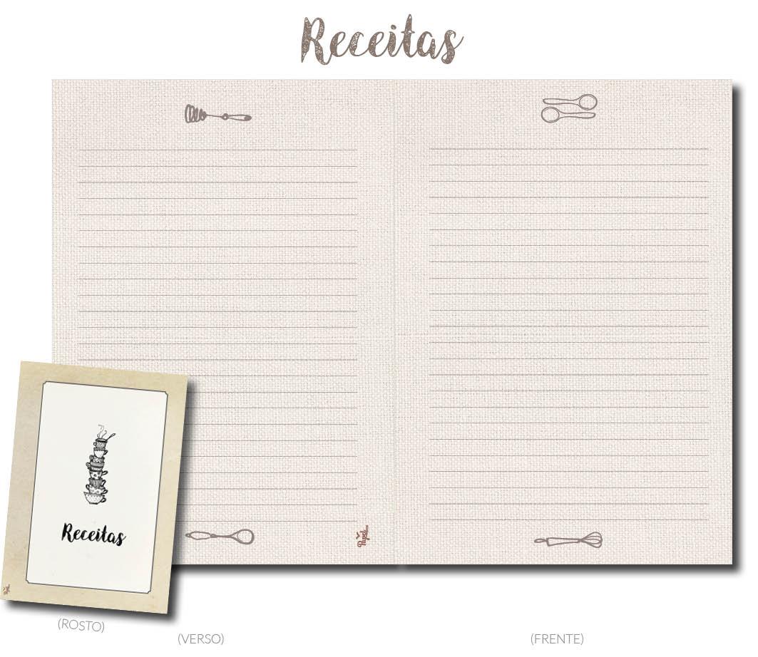 Miolo para caderno RECEITAS
