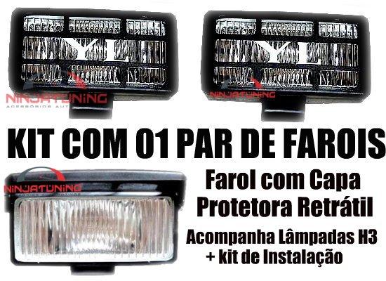 Kit Farol de Milha Off Road Rally com lâmpadas e suporte para Instalação