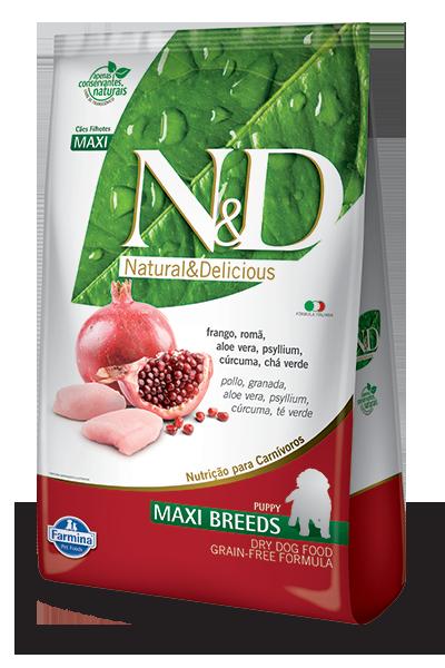 Ração N&D Grain Free Frango e Romã Maxi Breds Puppy 10.1