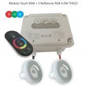 Kit Iluminação Piscina - 2 Leds Rgb 4,5w Tholz + Módulo c/ Controle Touch 50w
