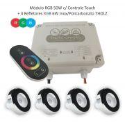 Kit Iluminação Piscina - 4 Leds Rgb 6w Tholz + Módulo c/ Controle Touch 50w