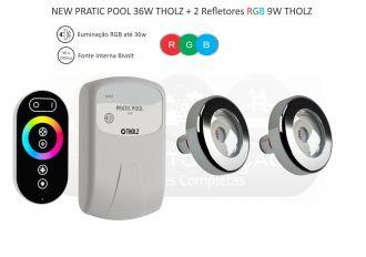 Kit Iluminação Piscina New Pratic Pool 36w - 220V - Tholz + 02 Leds 9w Rgb