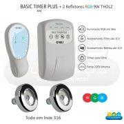 Kit Iluminação Piscina - 2 Leds Rgb 9w Tholz + Basic Timer Plus 36w