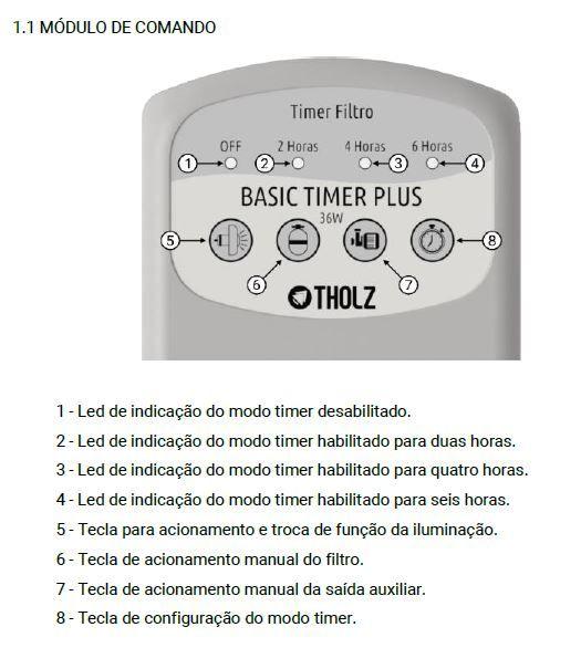 Basic Timer Plus 36w c/ Timer p/ Filtro - 220V - Tholz (Similar Easy Pool Touch 36w)