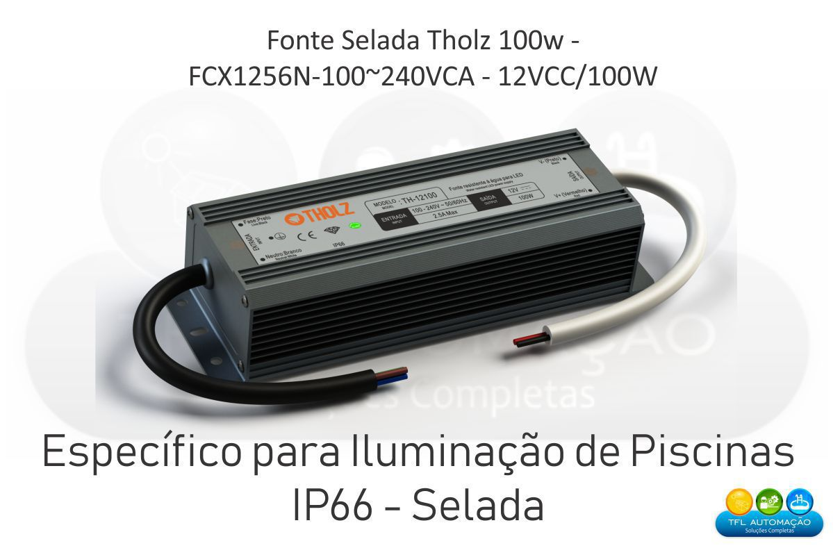 Fonte Selada Tholz - Fcx1256n-100~240vca - 12vcc/100w