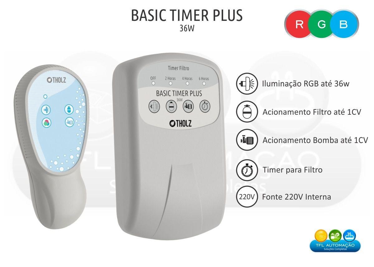 Kit Iluminação Piscina - 05 Leds 6w Rgb + Basic timer plus 36w + 04 Balizador 1,5w Branco + Fonte Selada 60w