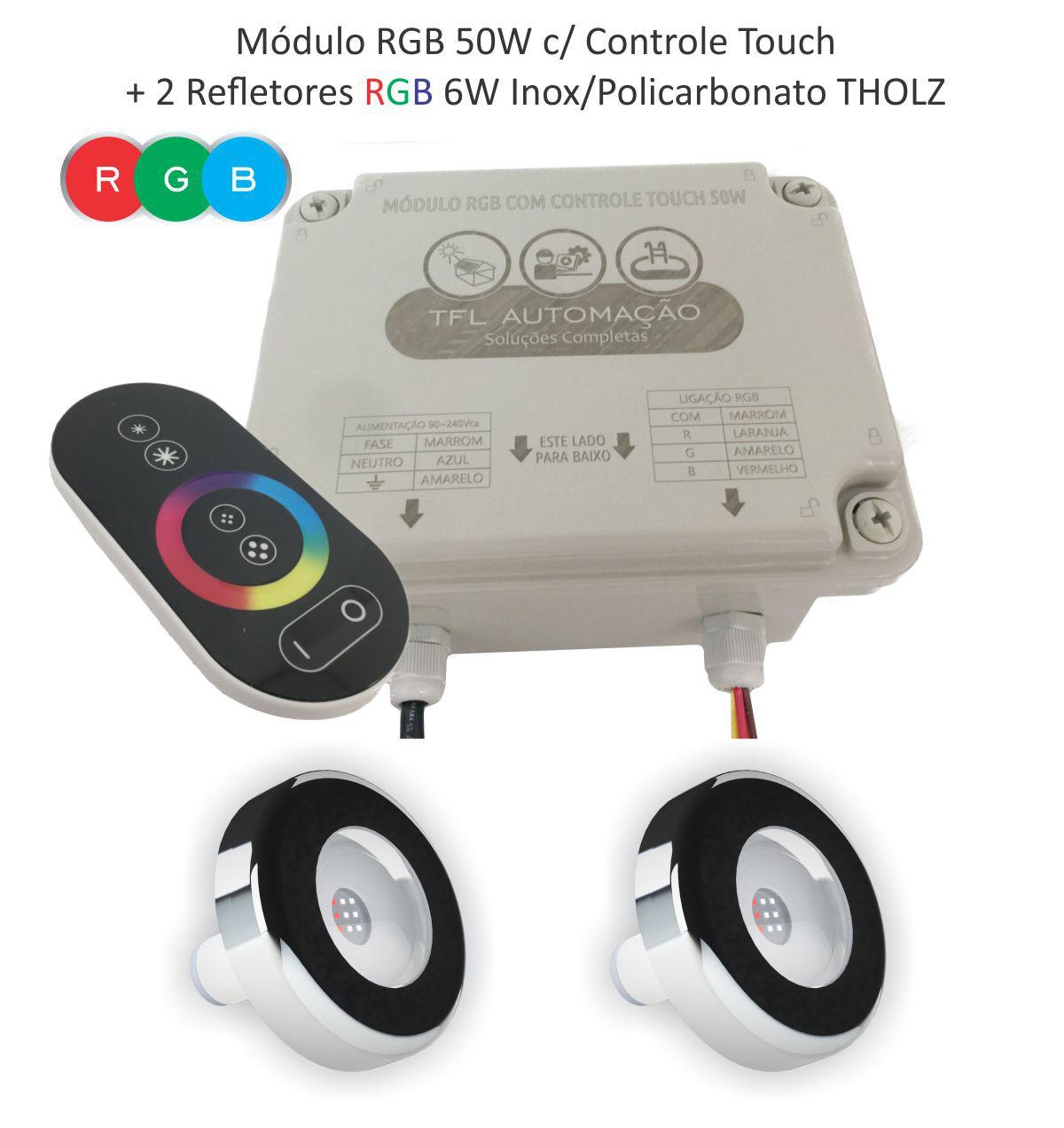 Kit Iluminação Piscina - 2 Leds Rgb 6w Tholz + Módulo c/ Controle Touch 50w