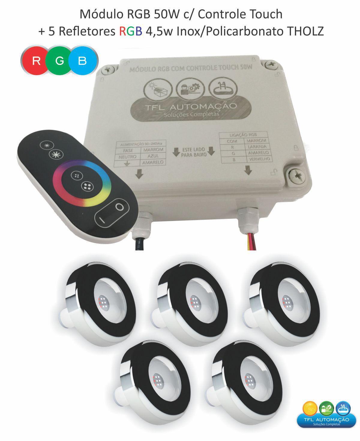 Kit Iluminação Piscina - 5 Leds Rgb 4,5w Tholz Inox + Módulo c/ Controle Touch 50w