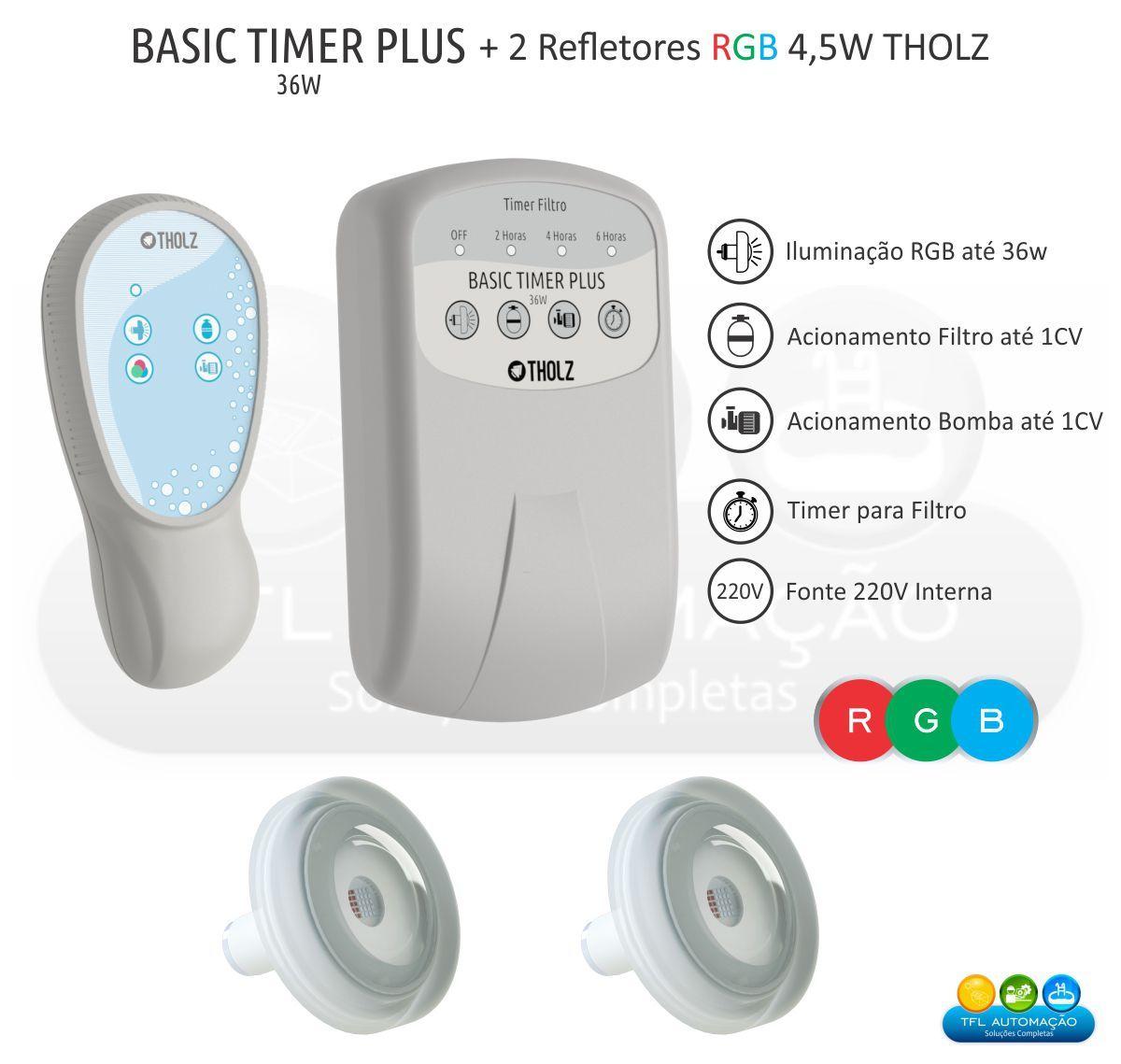 Kit Iluminação Piscina -  2 Leds Rgb 4,5w Tholz + Basic Timer Plus 36w