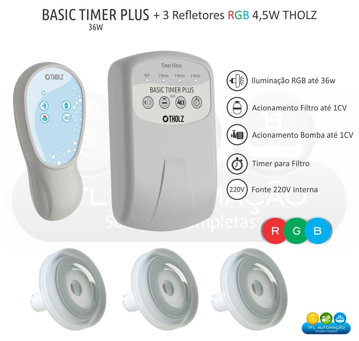 Kit Iluminação Piscina - 3 Leds Rgb 4,5w Tholz + Basic Timer Plus 36w