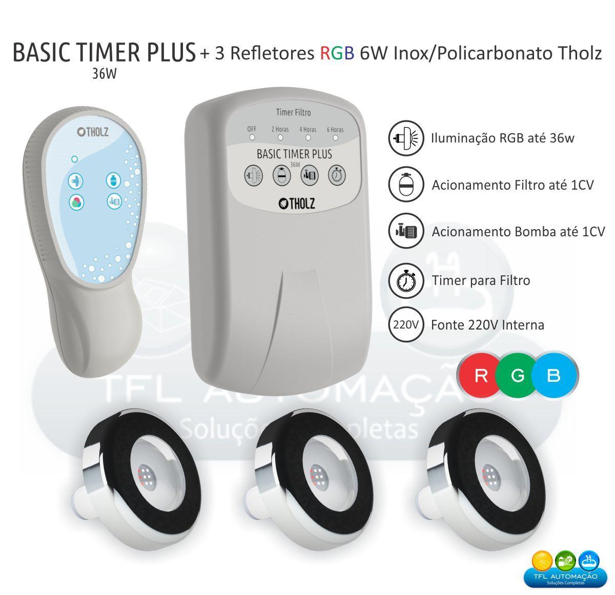 Kit Iluminação Piscina - 3 Leds Rgb 6w Tholz + Basic Timer Plus 36w